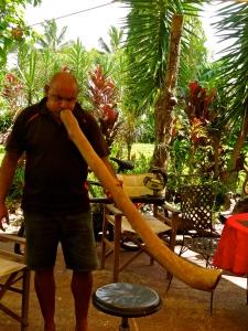 Binna playing the didgeridoo