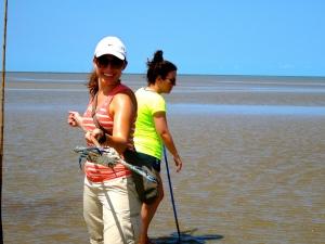 Speared sand crab on Cooya Beach
