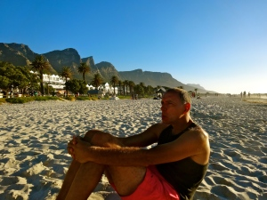 Tato enjoying an afternoon at Camps Bay Beach in Cape Town.