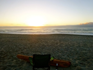 Sunset over the beach in Greymouth.
