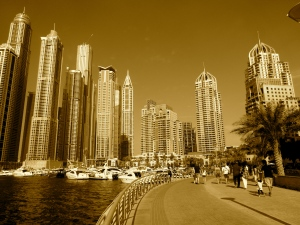 A shimmering view of the Dubai Marina Walk.