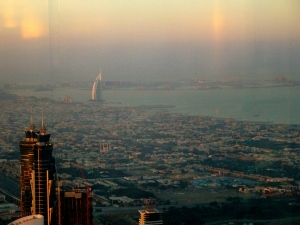 View from the 125th floor of the Burj Khalifa, the tallest building in the world.