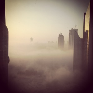 Dubai disappearing in the fog