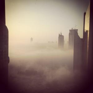 Dubai disappearing in the fog