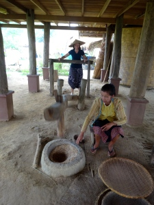 Milling the rice.