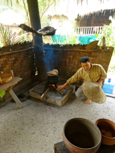 Cooking our sticky rice.