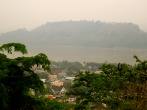 View of Luang Prabang and the Mekong from the That Phu Si & Wat Tham Phu Si, the highest point overlooking the town.