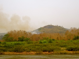 Fires burning along the shores of the Mekong.