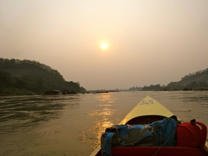 Sun setting on my fast boat ride along the Mekong.
