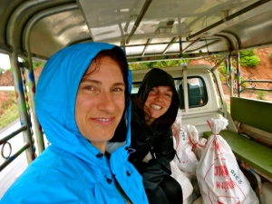 Julie and I in the back of our truck… on our way to the Bokeo Nature Reserve after a rainy morning.