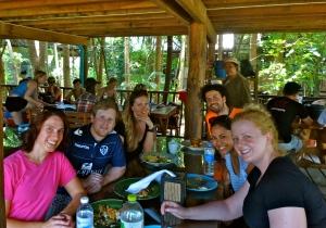 Our touring herd.  Clockwise around the table: Erik, Raudha, Jess, Me, Alex, and Caroline.