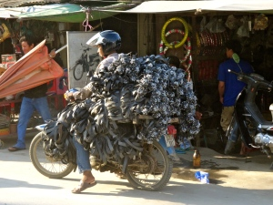 Example of overloaded motor bikes.